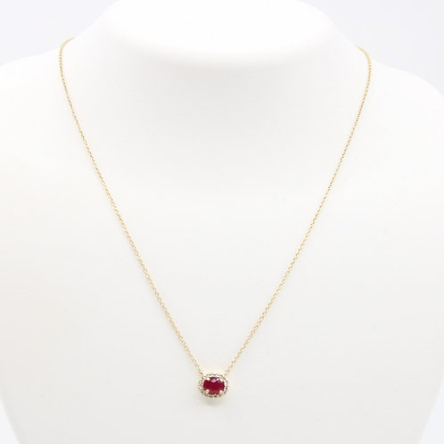 Oval Ruby & Diamond Halo Necklace14K Yellow Gold