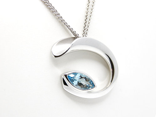 Blue Topaz and Sterling Silver Pendant
