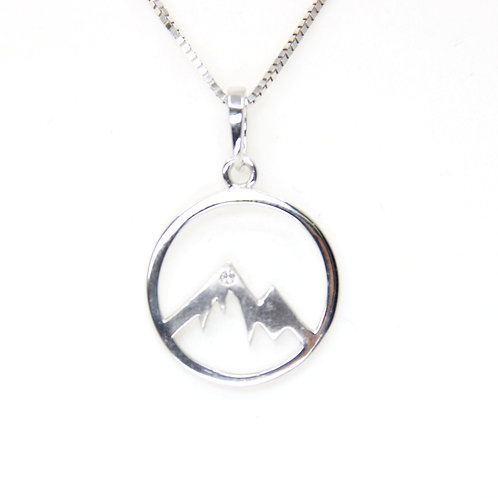 Mountain Pendant with Diamond 14K White Gold