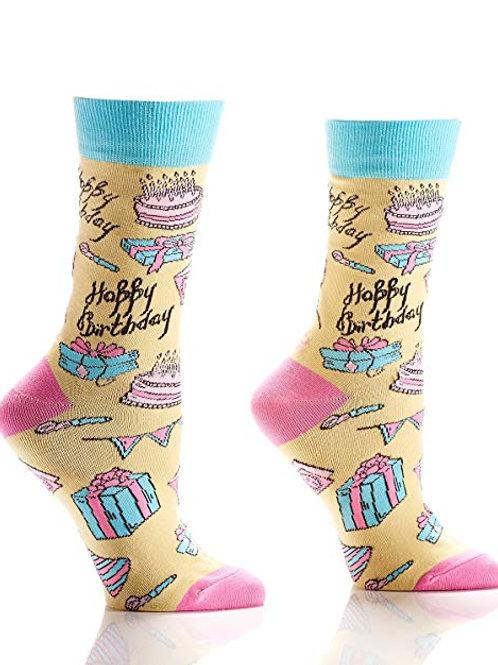 Yo Sox - Women's Crew Socks - Happy Birthday