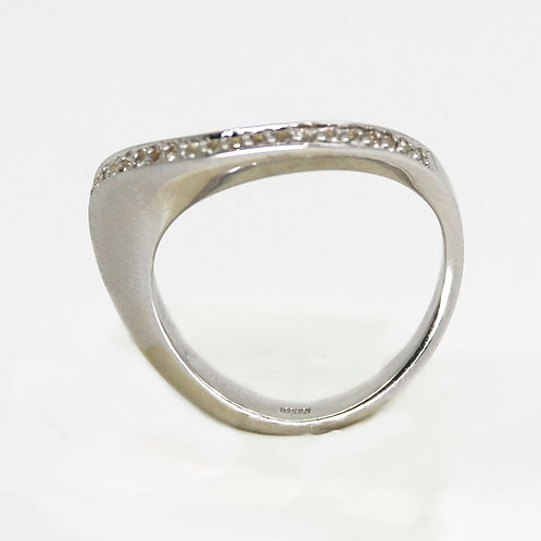 Breuning Sterling Silver White Sapphire Ring