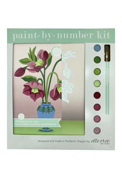 8x10 Canvas Kit | Hellebores in Vase | paint-by-number kit