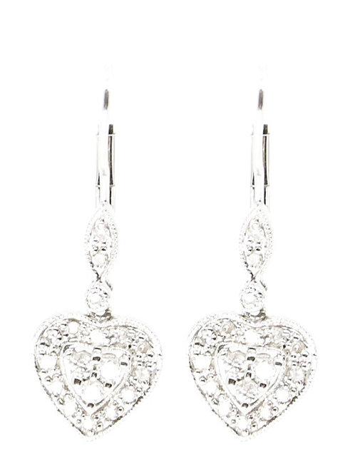 White Gold and Diamond Heart Earrings