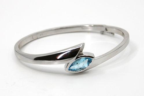 Blue Topaz and Sterling Silver Hinged Bracelet