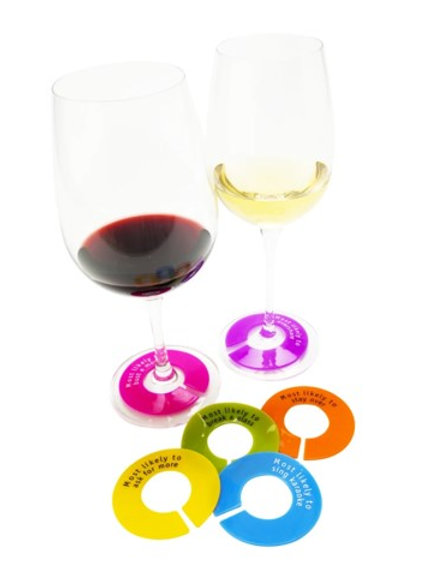 GlassWhere Silicone Wine Glass Identifiers - (Set of 6) Assorted Bright Colors