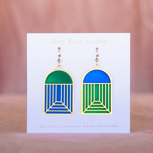 Stained Glass Earrings - blue/green