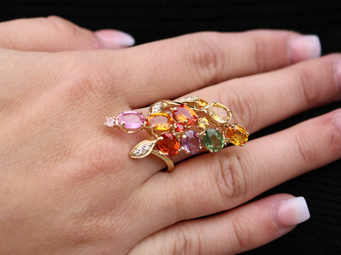Vintage Multicolor Natural Sapphire Cocktail Ring