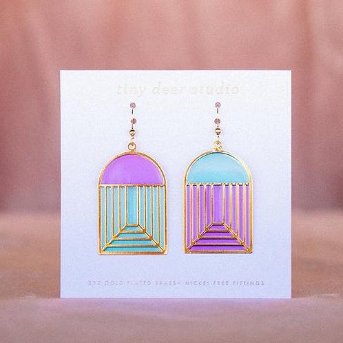 Stained Glass Earrings - blue/purple