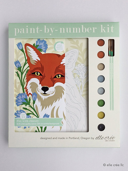 8x10 Canvas Kit | Fox with Chicory | paint-by-number kit