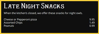 Snacks Miners Tavern Menu