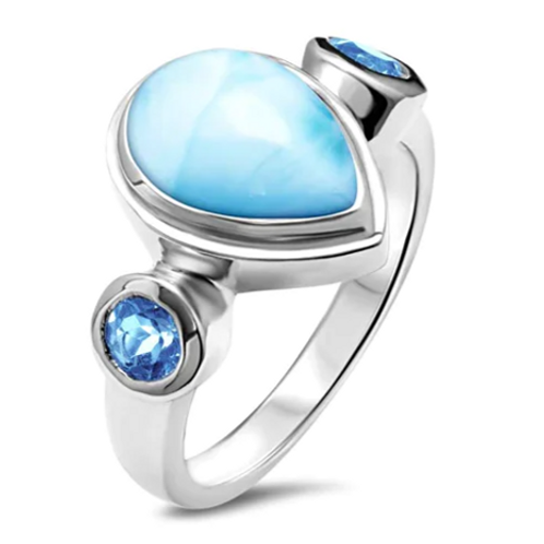 Atlantic Pear Larimar Ring
