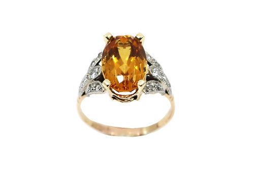 Vintage Gold Topaz and Diamond Ring