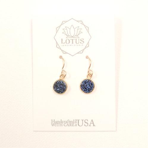 Luster Druzy Midnight Blue Earrings