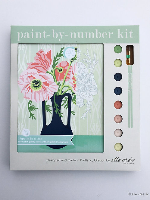 8x10 Canvas Kit | Poppies in a Vase | paint-by-number kit