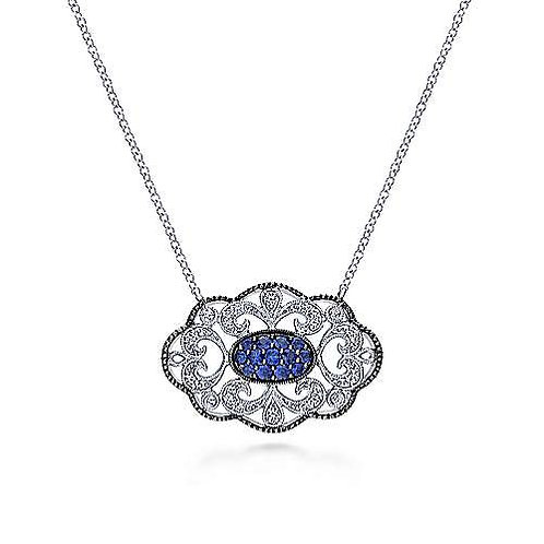 Vintage Inspired 925 Sterling Silver Openwork Filigree Sapphire Pendant Necklace