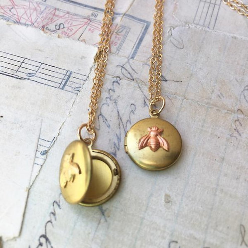 Tiny Bee Locket Necklace Rose Gold Bumblebee Rose Gold Bee Necklace Autumn