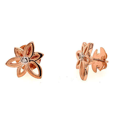 Rose Gold and Sapphire Flower Earrings