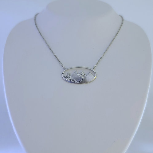 Mountain Silhouette Oval Pendant