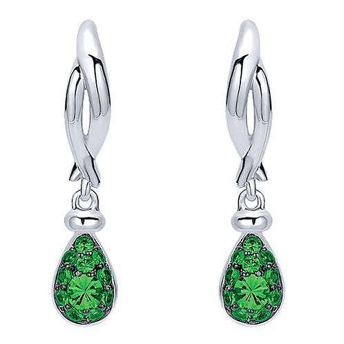 Twisted Cluster Green Garnet Drop Earrings