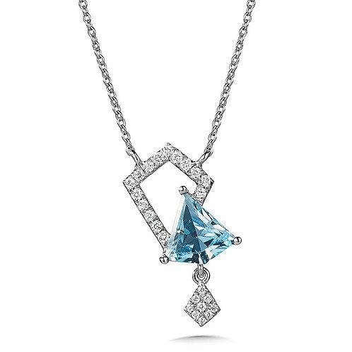 Asymmetrical Sky Blue Topaz and Diamond Kite Necklace