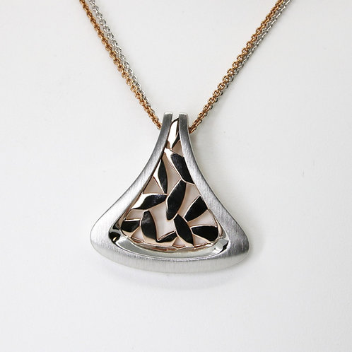 Two Tone Brushed Finish Teardrop Pendant