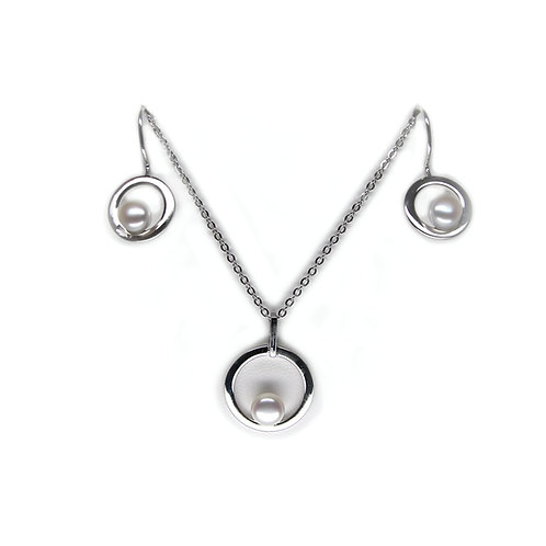 Pearl Pendant Necklace & Earrings Set