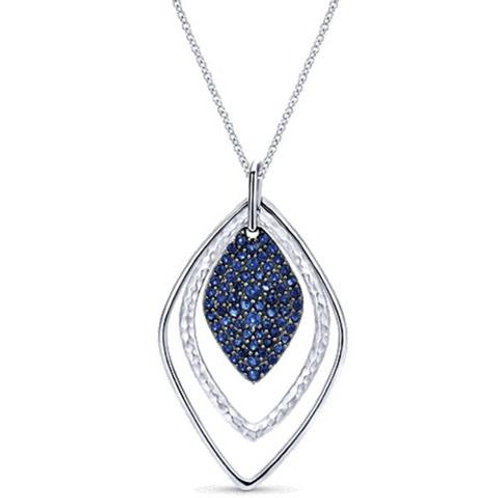 Sterling Silver and Blue Sapphire Fashion Teardrop Pendant