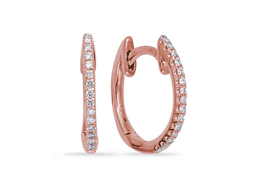 Rose Gold Diamond Huggie Earrings