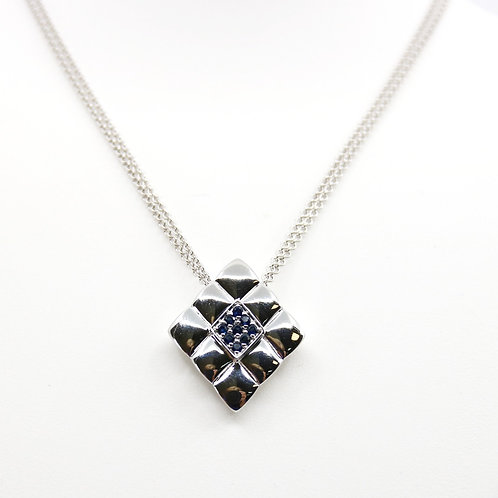 Sterling Silver and Sapphire Geometric Necklace