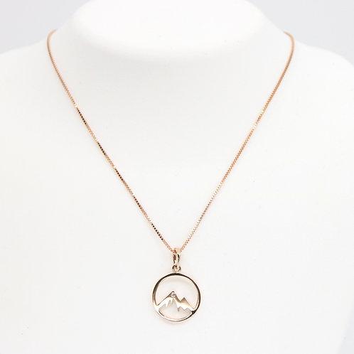 Mountain Pendant with Diamond 14K Rose Gold