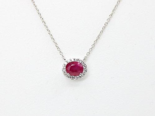 Oval Ruby & Diamond Halo Necklace14K White Gold