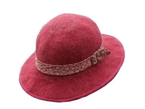 Handmade Alpaca Felt Hat (cranberry)