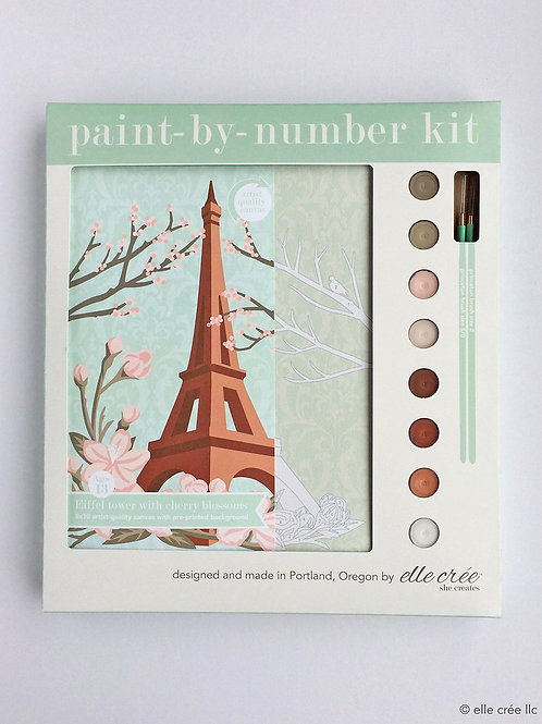 8x10 Canvas Kit | Eiffel Tower with Cherry Blossom | paint-by-number kit