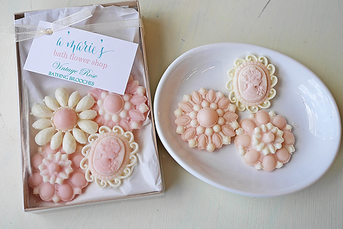 A' Marie's Soap Brooch Set -Vintage Rose