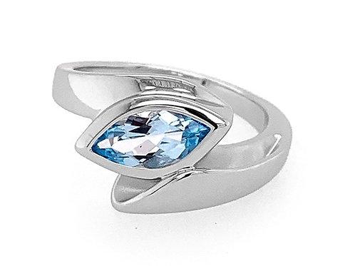 Breuning Sterling Silver Blue Topaz Bypass ring