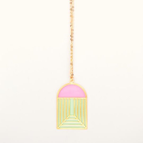 Translucent Stained Glass Pendant Necklace - pink/green