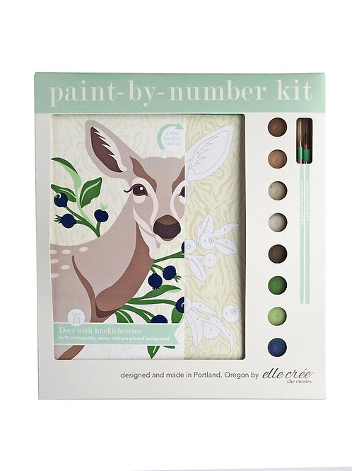 8x10 Canvas Kit | Deer with Huckleberries | paint-by-number kit