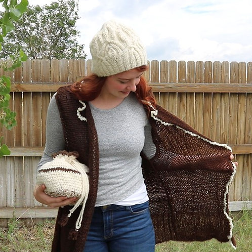 Hand Knit Alpaca Vest (brown/cream)