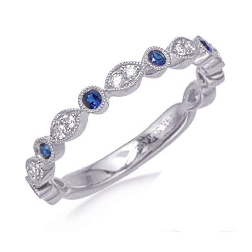 White Gold Sapphire and Diamond Stackable Ring