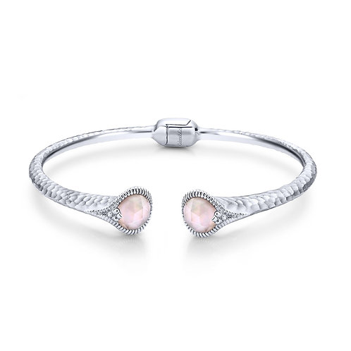 Rock Crystal and Pink Mother of Pearl Split Bangle