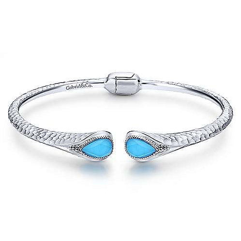 Sterling Silver Rock Crystal and Turquoise Split Bangle