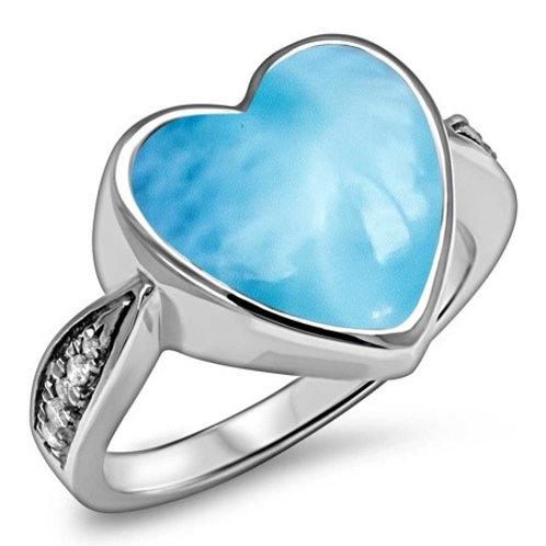Sapphire Heart Larimar Ring