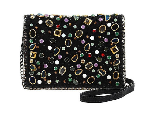 Mary Frances Black Suede Crossbody Bag with  Jewels and Beads