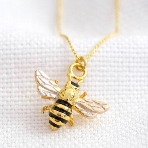 Tiny Gold Enamel Bumblebee Pendant Necklace