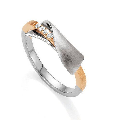 Breuning Rose Gold & Rhodium Plated Sterling Silver White Sapphire Ring