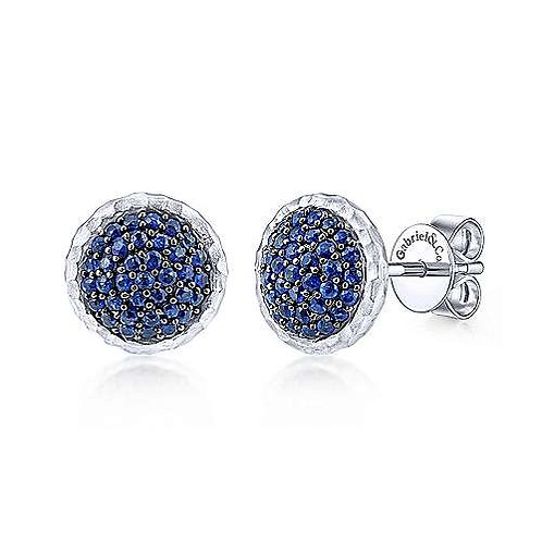 Sterling Silver Hammered Round Sapphire Pavé Stud Earrings