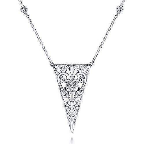 Vintage Inspired 925 Sterling Silver Triangular White Sapphire Pendant Necklace