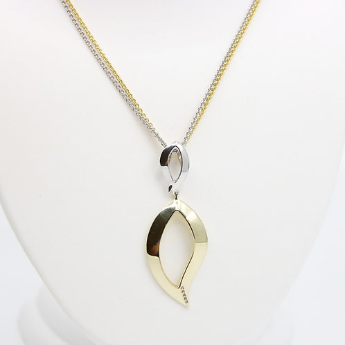 Sterling Silver with Yellow Gold Overlay White Sapphire Leaf Pendant Necklace