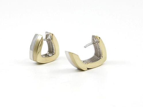 Two-toned Huggie Hinged Earrings