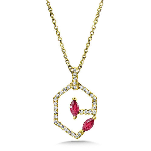 Diamond and Marquise Ruby Pendant  Necklace